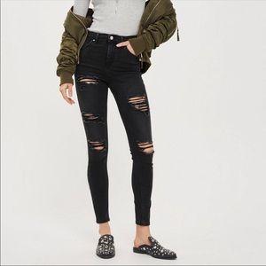 Topshop Moto Jamie Black Distressed Jeans